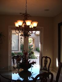 chandelier with large high floral setting